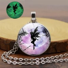 Clssic Glow In The Dark Necklace Jewelry Fashion Fly Magic Fairy Girl Pattern Luminous Glass Dome Pendant Necklace