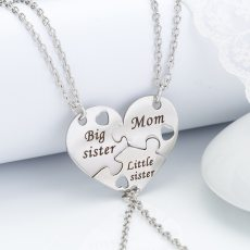 3 Pcs/Set Mother Daughter Silver Metal Pendant Necklace Sister Mom Heart