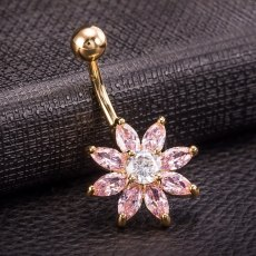 Fashion Navel Piercing Zirconia Crystal Flower Petal Belly Button Rings