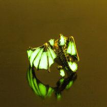 Dragon Luminous Rings Glow In Dark Pterosaur Finger Ringe Gold Silver Adjustable