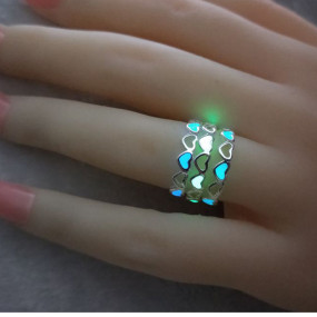 Adjustable Heart Shape Luminous Ring Glowing in Dark Silver Color Rings
