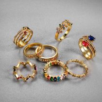 Crown Rainbow Ring Inlay Colored Rhinestone Charming Couple Jewelry