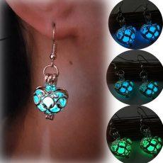 Luminous Lantern Heart Silver Hollow Glowing Stone Drop Earrings