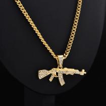Fashion Punk Gun Shape Pendant Crystal Rhinestone Chain Necklace