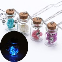 Glowing Dry Flowers Plant Pendant Jewelry Retro Semicircle Glass Shade Pendant Necklace