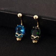 Skull Green Blue Crystal Belly Button Rings Navel Piercing