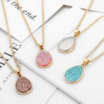 Crystal Water Drop Shaped Pendant Necklace