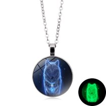 Wolf Pattern Glass Dome Luminous Glow In The Dark Necklace Punk Jewelry Charm
