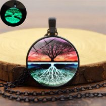 Classic Wish Tree Of Life Luminous Necklace Glow In The Dark Glass Alloy Necklace
