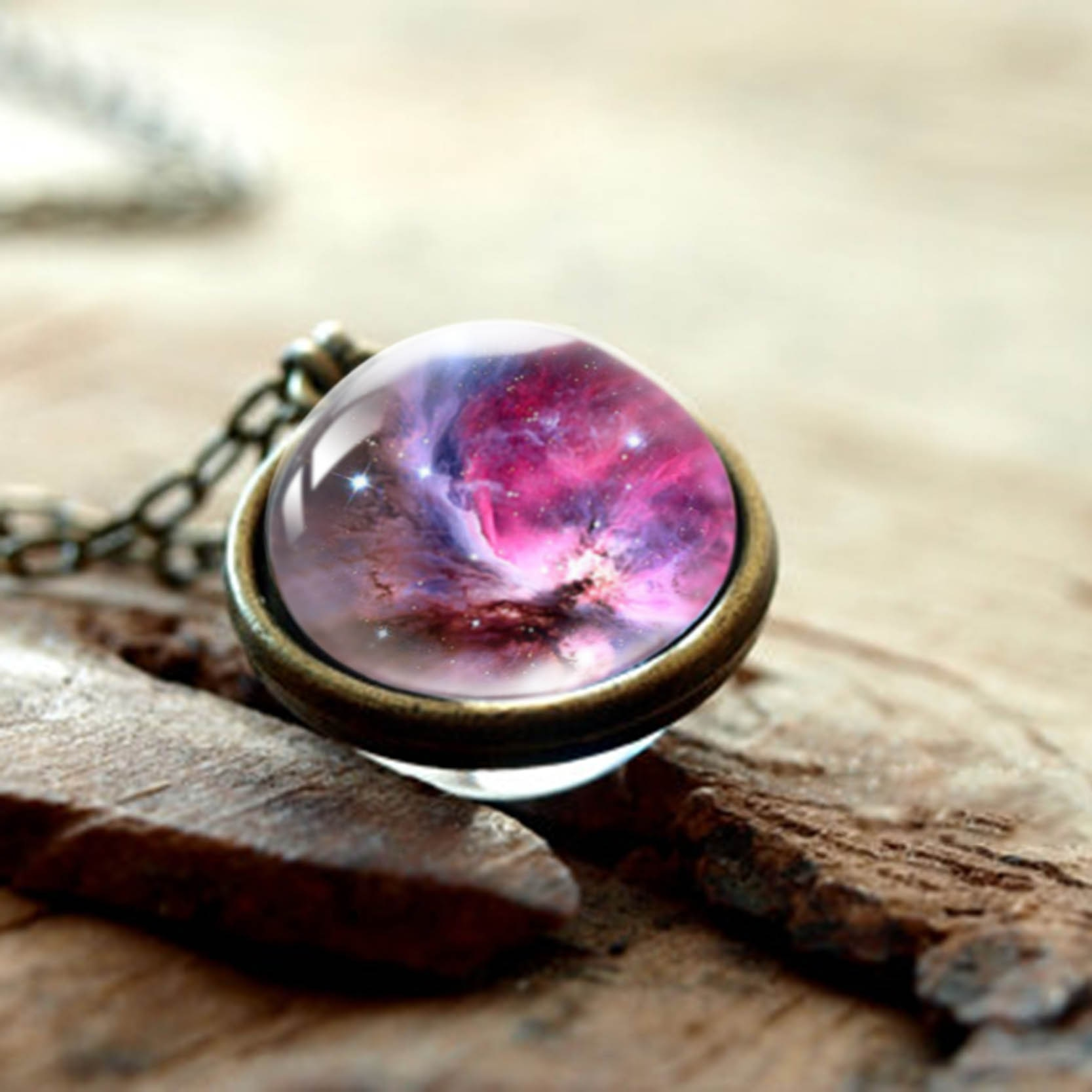 Family Decor Gray Planet Galaxy Moon Pendant Necklace Cabochon Glass Vintage Bronze Chain Necklace Jewelry Handmade