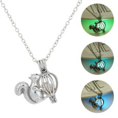 Glowing Squirrel Pendant Necklaces Luminous Stone Sliver Plated Necklace Glow in the Dark Jewelery
