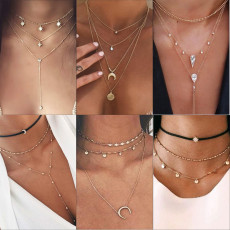 Vintage Multilayer Crystal Pendant Necklace Gold Color Beads Moon Star Horn Crescent Choker Necklaces