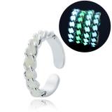 Adjustable Heart Shape Luminous Ring Glowing in Dark Silver Color Rings