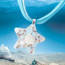 Fashion Marine Element Glass Pendant Beach Style Five-Pointed Star Shell Conch Pendant Necklace