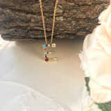 Initial Multicolor Letter Shinning Necklace