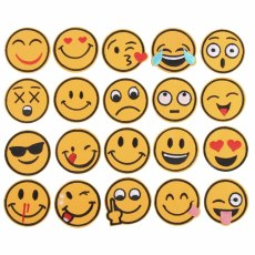 20Pcs/Set Mixed Emoji Embroidery Patches For Clothing Stripes Stickers For Clothes Decoration