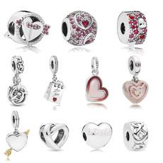 Hearts of Love Charms Beads Fit Pandora Bracelet