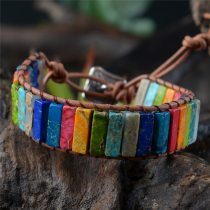 Multicolor Bracelet Boho Natural Stone Wrap Bracelet