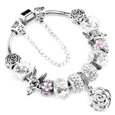 Silver Color Rose Charms DIY Crystal Beads