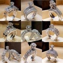 Crystal White Round Ring Engagement Ring