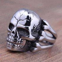 Skull Flower Biker Zinc Alloy Ring