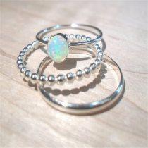 White Fire Opal Fine Ring