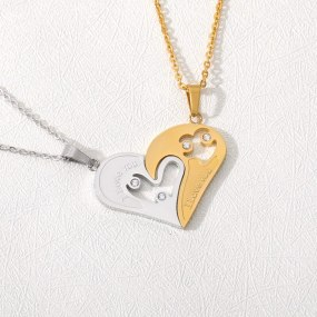 Couple Pair Of I Love You Two Piece Set Of Two Hollow Necklaces