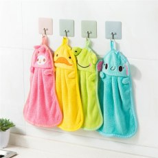 Candy Colors Coral Velvet Cartoon Animal Towel Soft Hanging Quick Dry