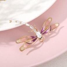 Crystal Enamel Cute Trend Pink Purple Dragonfly Brooch