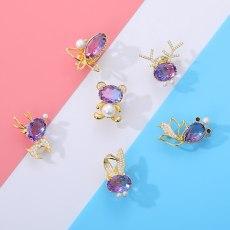 Crystal  Animal Imitation Pearl Brooch Cubic Jewelry