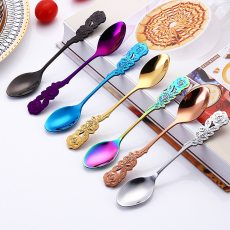 304 Stainless Steel Rose Coffee Spoon Long Handle Kitchen Tableware