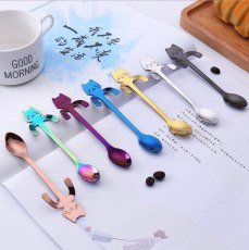 Mini Coffee Spoon Tea Spoon 304 Stainless Steel Kitty Cat Gold Teaspoon Tableware