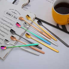 5 Colors Stainless Steel Square Shaped Spoon With Long Handle Tea Spoon Kitchen Tableware