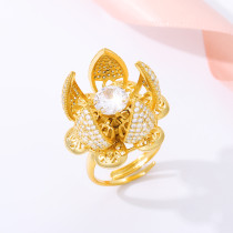 Flower Bud Gold Ring Adjustable Switch Cubic Zirconia Ring