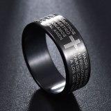 Dull Polish Black Titanium Ring Jesus Cross Ring Letter Bible Prayer Finger Rings