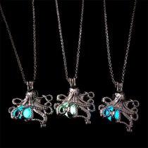 Retro Octopus Luminous Locket Pendant Necklace