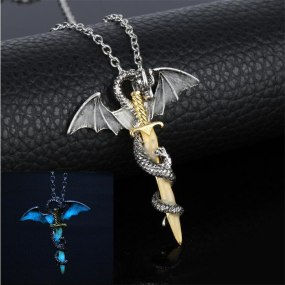 Luminous Jewelry Dragon Sword Pendant Necklace