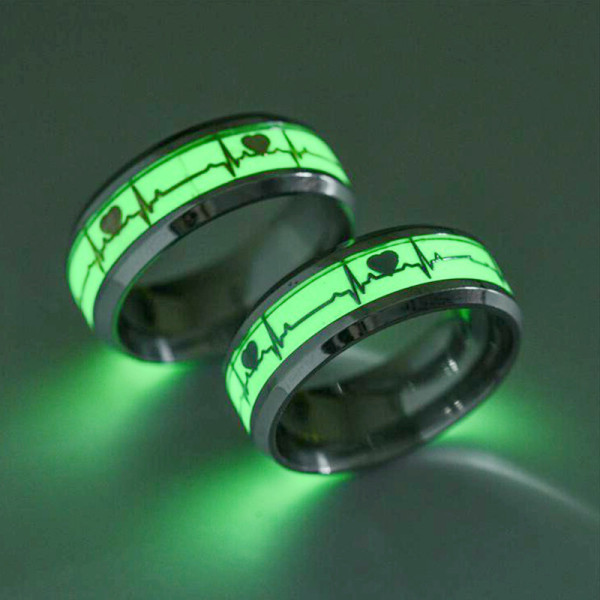Heartbeat Luminous Rings Black Stainless Steel Ring