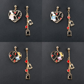 Metal Alice in Wonderland Enamel Asymmetric Earrings