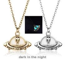 I WANT TO BELIEVE Luminous Spacecraft Alien Necklace