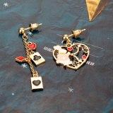 Metal Alice in Wonderland Enamel Asymmetric Earrings