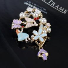 Alice In Wonderland Brooch Metal Enamel Colorful Butterfly Poker Rabbit Clock Pin