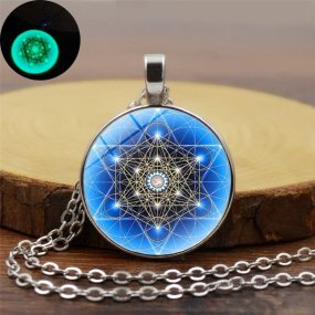 Luminous Round Archangel Metatron Cubes Necklace