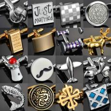 Enamel Copper Laser Metal Lattice Cufflinks Quality Gems/Dragon/Married/Knot Cuff Links