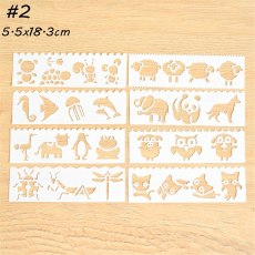 8Pcs/Set Cute Animals Theme Layering Stencils For Walls Embossing Paper Card Template