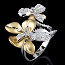 Double Color Flower Micro Pave Crystal Rings
