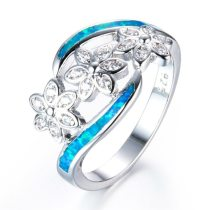 Silver Color Blue Fire Opal White Zircon Flower Rings