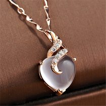 Heart Opal Rose Gold Color Chain White Crystal Necklace