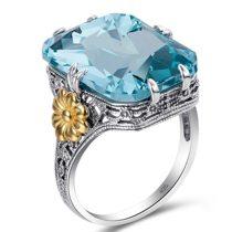 Vintage Blue Big Square Crystal Engagement Ring
