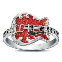 Red Resin Drip Oil Guitar Ring Silver Color Punk Rings